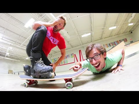 Forcing A Skateboarder To ROLLERBLADE!?