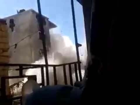Darayya - Damascus. Syrian Army blown up terrorists meeting.