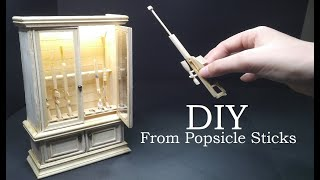 MINIATURE GUNS and GUN CABINET from Popsicle Sticks (+ Fortnite Hunting Rifle)-DIY