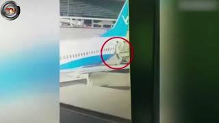 Flight attendant injured after falling nine feet from plane door | CCTV NEWS!