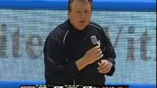 Pitt vs. WVU Backyard Brawl - Coach Huggins yells at WVU fans for throwing objects on court (2-3-10)