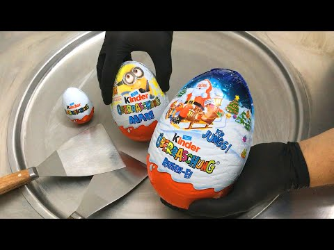 JUMBO kinder Surprise Egg  Ice Cream Rolls  Opening, unboxing and how to make Ice Cream  ASMR