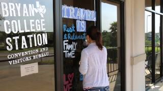 Time Lapse Window Painting for Travel & Tourism Week - Bryan College Station CVB