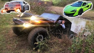 I Got My Gladiator STUCK in a Swamp... And I CAN'T GET IT OUT!!! + FLAME THROWER GTR Races My 600LT!