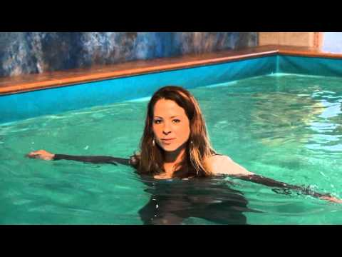 Cleo fully clothed wetlook in the pool