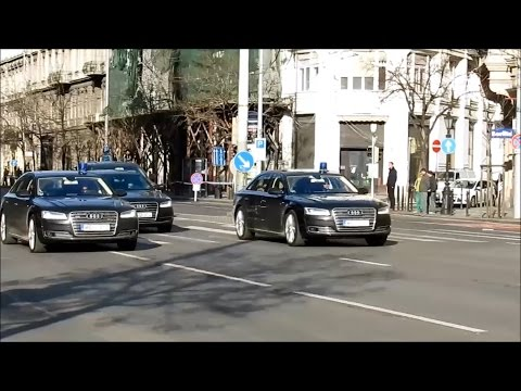2015 Budapest, Hungary. Motorcade of Angela Merkel, Diplomatic Convoys