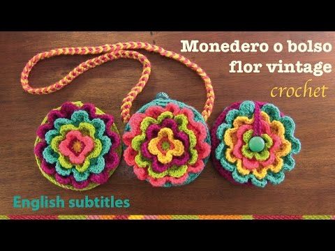 Mini tutorial # 12: monedero Flor vintage a crochet / English subtitles: blooming flower purse