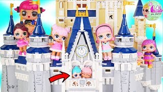 LOL Surprise Dolls Visit Disney Magic Kingdom with Princesses for Lil Sisters Bunk Beds - Toy Video