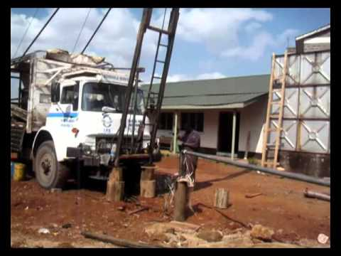 truck mounted drilling rig construction site