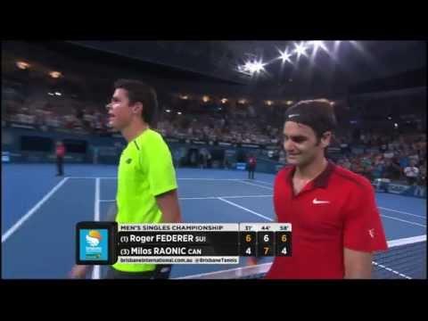 Roger Federer v Milos Raonic highlights (final) - Brisbane International 2015