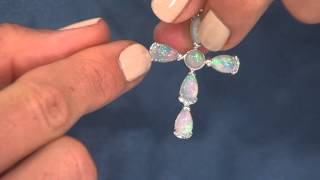 "Ethiopian Opal Sterling Cross Pendant on 18"" Chain with Kerstin Lindquist"