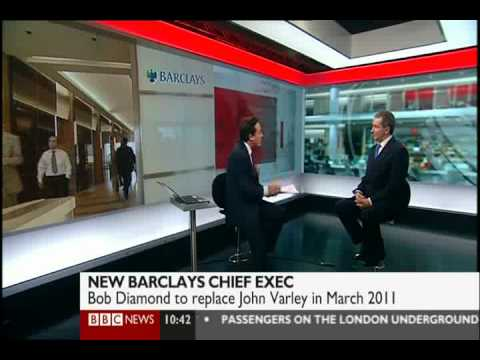 Bob Diamond to become Barclays CEO - BBC News Channel 7 September 2010