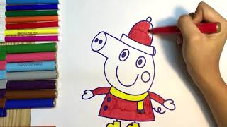 How to draw Peppa Pig with color Pencil/ teaching kid to draw, coloring