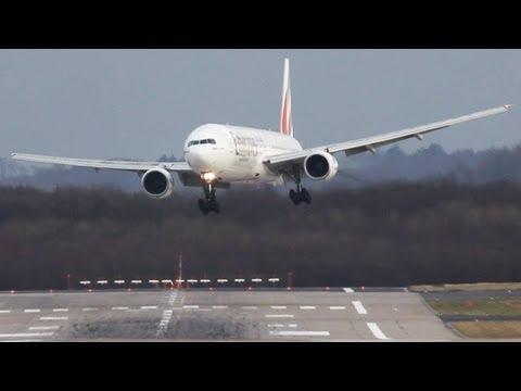Crosswind Landings during a storm at Düsseldorf  B777,767,757 A330 Sturm Andrea, (watch in HD)