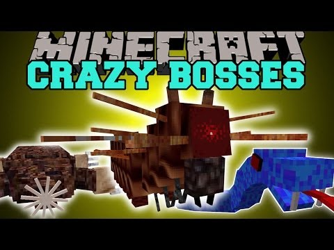 Minecraft: CRAZY BOSSES (SEA MONSTERS. KILLER CATERPILLARS. & MORE!) Mod Showcase
