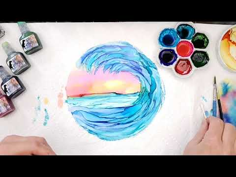 How to Paint an Ocean Wave with Alcohol Ink