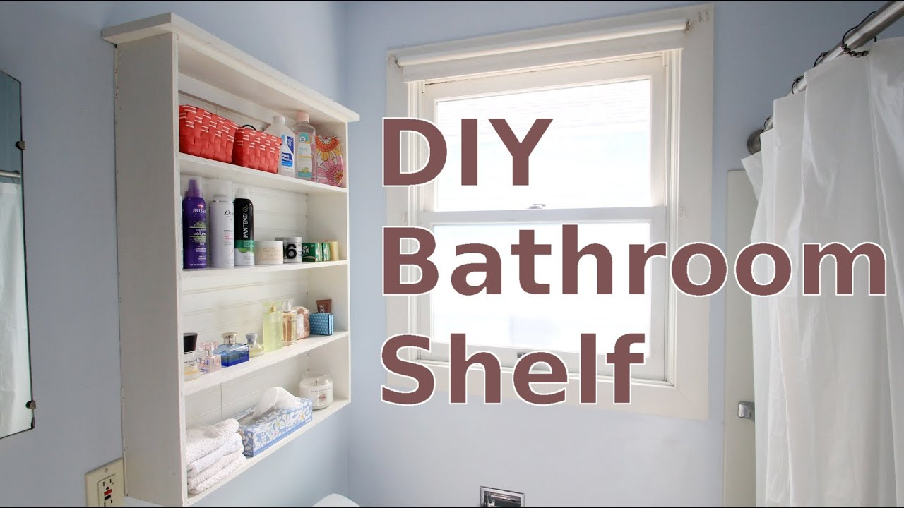 building a diy bathroom wall shelf for less than 20 youtube. Black Bedroom Furniture Sets. Home Design Ideas