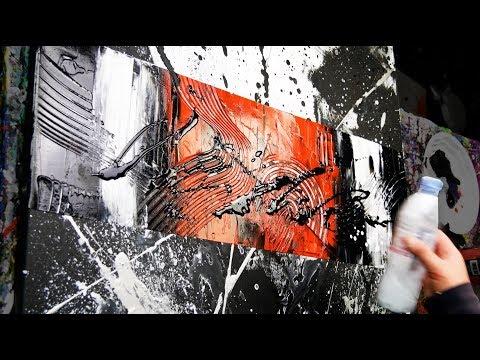 Abstract Painting Demo Acrylics using brush, knife and splash - Disburden - John Beckley