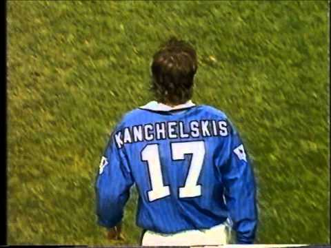 Andrei Kanchelskis scores for Everton FC against Liverpool