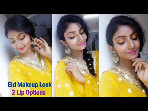 Eid Makeup Look under Rs. 200 || Yellow Gold Eyes || 2 Lip Options || Its makeover tym