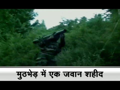Fierce encounter on with terrorists in Kashmir,one soldier dead