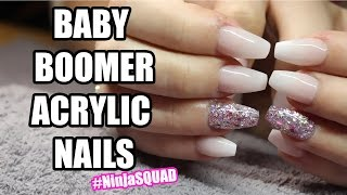 BABY BOOMER ACRYLIC NAILS WITH GLITTER | #NINJASQUAD
