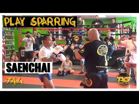 Kru Chris Aboy (T.A.G.) Play Sparring with Saenchai (Yokkao)