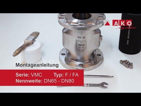 Schlauchaustausch: AKO Quetschventil (pneumatisch), Serie VMC, Typ F-FA, DN65, DN80