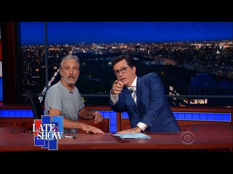 Jon Stewart Takes Over Colberts Late Show Desk