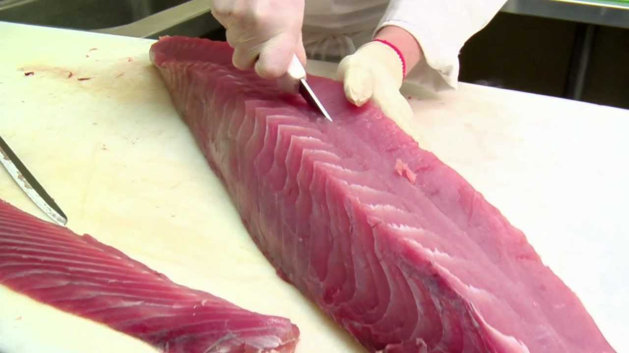 Chef eddie fillets sushi grade yellowfin tuna youtube for Sushi grade fish