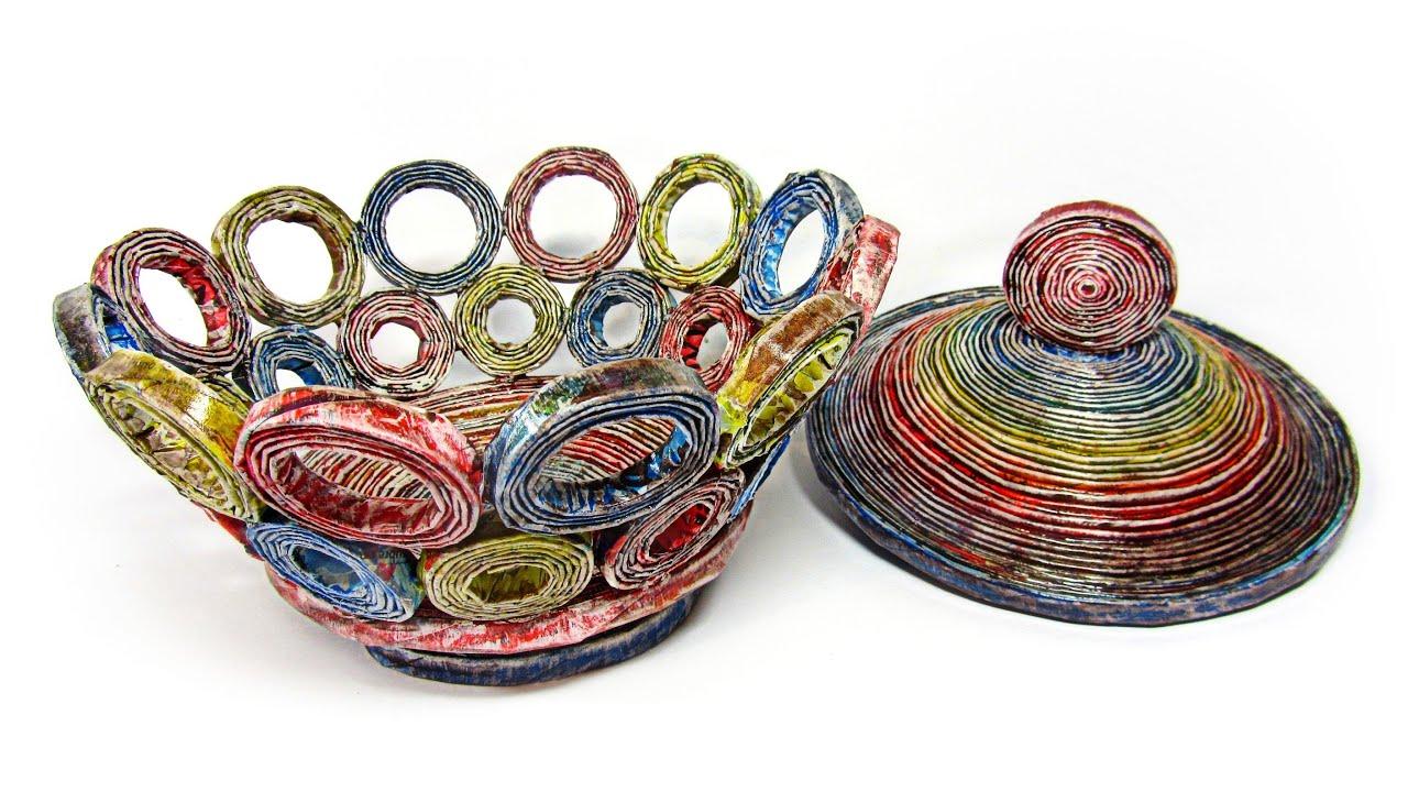 Como hacer cestas de peri dico con tapa how to make - Manualidades de papel reciclado ...