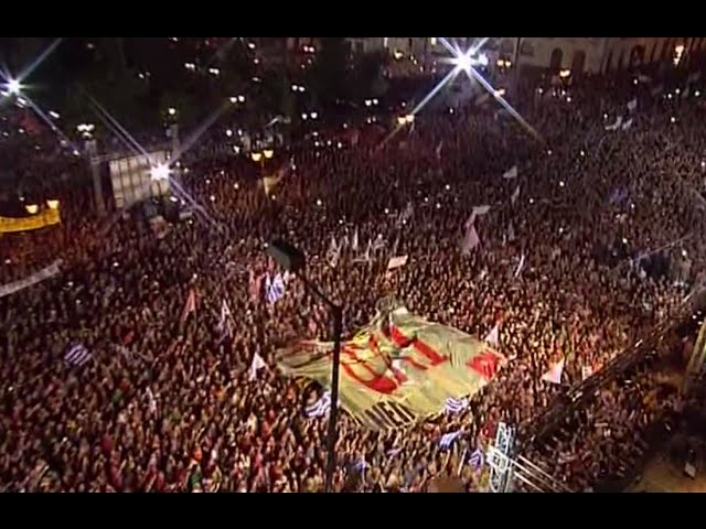 'OXI, OXI!': Tens of thousands chant 'No' to bailout conditions as Tsipras addresses crowd
