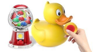 Learning Colors with Pokeball 3D with Toys Plastic Duck    Cartoon for kids