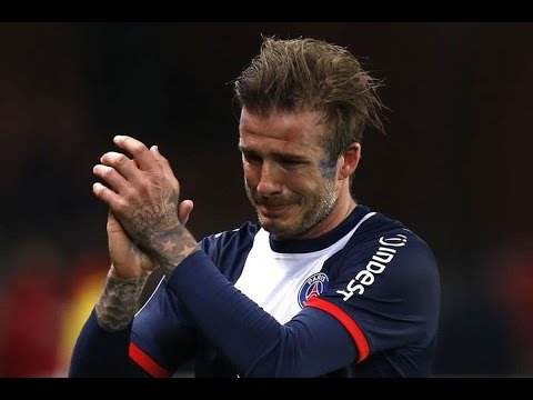 Beckham crying at his last football game