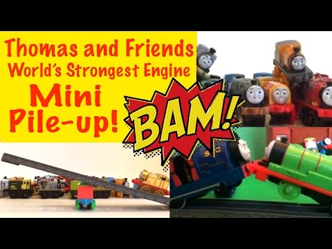 Thomas And Friends World's Strongest Engine - Losing Train Falls Into A Pile Of Minis!