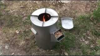DIY gravity feed rocket stove - burning wood pellets (sawdust granules)