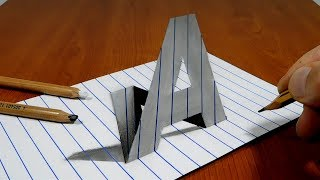 Draw a Letter A on Line Paper   3D Trick Art