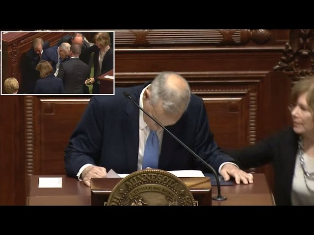See The  Moment Minnesota's Governor Fell During Speech