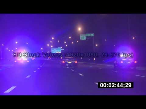 Police at night - HD Stock Videos - Police Motorcade - Police Chase - Police Lights - Stock footage Video