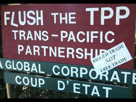 Flush The TPP Trans-Pacific Partnership Sign In French With Bumper Sticker
