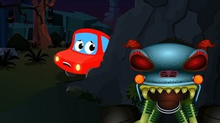 Little Red Car And The Haunted House Monster Truck | Scary Monster Truck