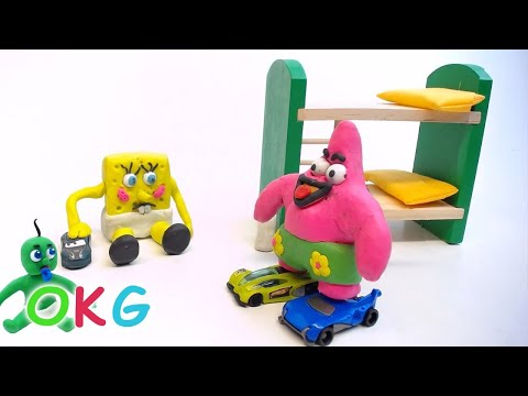 Baby SpongeBob Friends Play Cars Play Doh Animation Kids Stop Motion Video