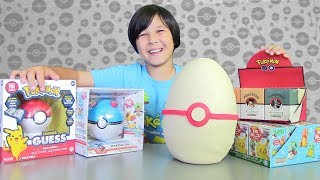 POKEMON TRAINER GUESS GAME! Giant POKEMON GO Poke Ball PLAY DOH Surprise Egg & SURPRISE TOYS