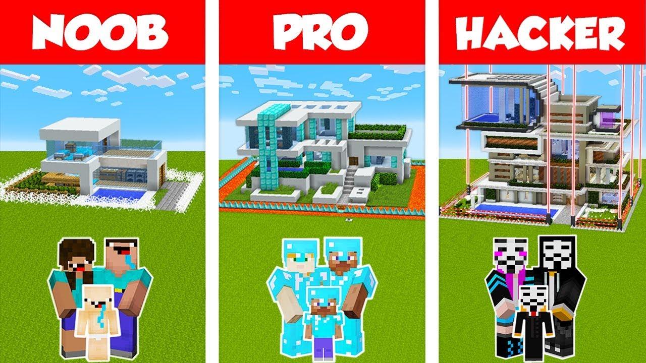 Minecraft NOOB vs PRO vs HACKER: SAFEST FAMILY HOUSE BUILD CHALLENGE in Minecraft/ Animation