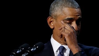 Obama tears up while addressing Michelle in farewell speech