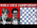 World Chess Championship 2018 Tiebreak Game 1: Magnus Carlsen vs Fabiano Caruana