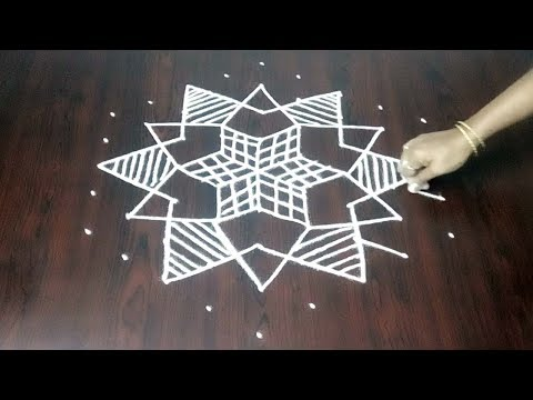 New Star Kolam 9 x 5 ||  Star Muggulu Step By Step Easy  || Fashion World