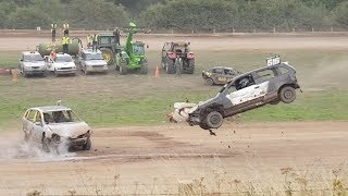 INSANE!!! RAMP RACE!! Destruction Derby! Outlaws banger racing at scarborough autograss 12.8.2018