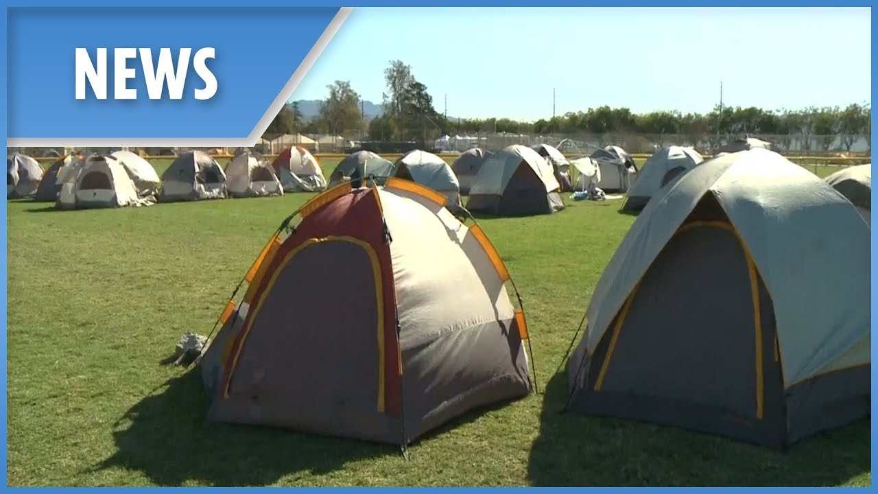 California's hero firefighters sleep in makeshift tent city