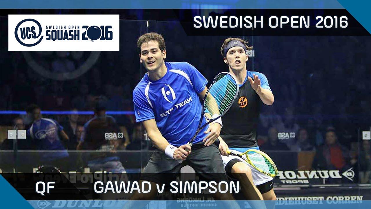Squash: Gawad v Simpson - UCS Swedish Open 2016 - QF Highlights
